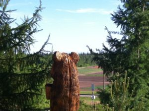 Bear sculpture at UAF gardens
